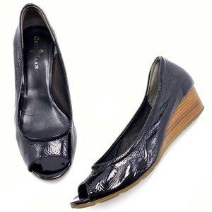 Cole Haan Tali Black Patent Peep Toe Wedge Heels